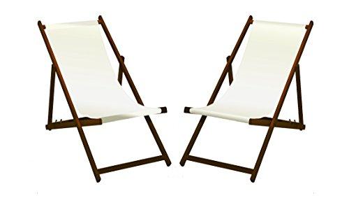 2 x Liegestuhl Holz mit dunkelbrauner Lasur Weiß ohne Armlehne klappbar mit wechselbaren Stoffbezug