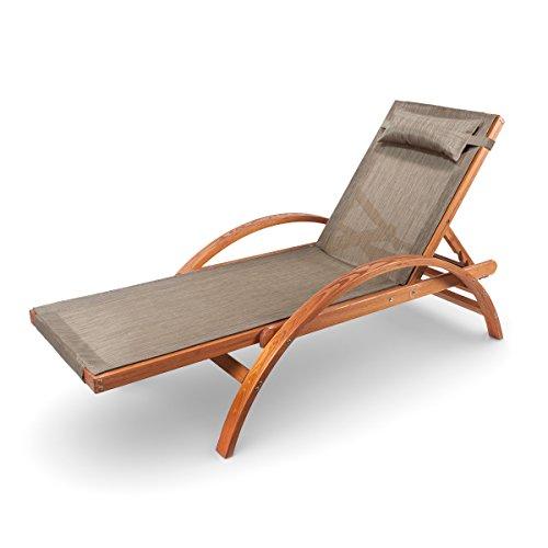 Ampel 24 Liegestuhl Caribic verstellbare Rückenlehne Sonnenliege mit Armlehnen Gartenmöbel aus vorbehandeltem Holz wetterfeste Gartenliege