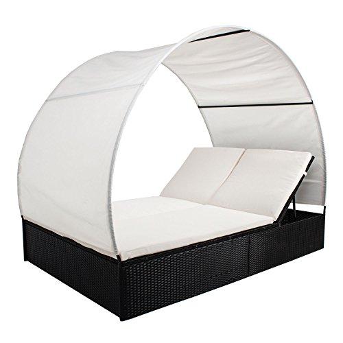 ArtLife Polyrattan Gartenmöbel Sonnenliege Lounge Ibiza XL mit Dach für 2 Personen