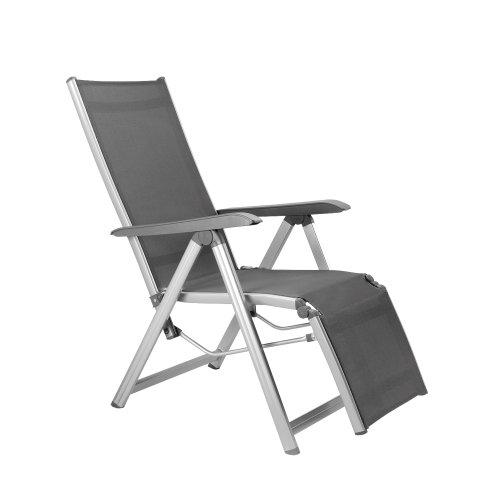 Kettler Basic Plus Advantage Relaxliege Aluminium - praktische Klappliege - Liegestuhl verstellbar leicht zusammenklappbar - wetterfeste Gartenmöbel - silberanthrazit