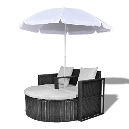 vidaXL Gartenlounge mit Sonnenschirm Poly Rattan Liege Sonnenliege Gartenmöbel