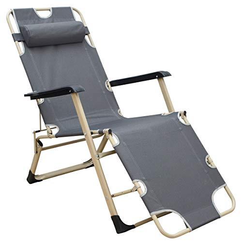 AMANKA Liegestuhl 178x65cm Garten-Liege 150kg Klappliege verstellbar Campingliege Sonnenliege m Auflage Kopfkissen Grau