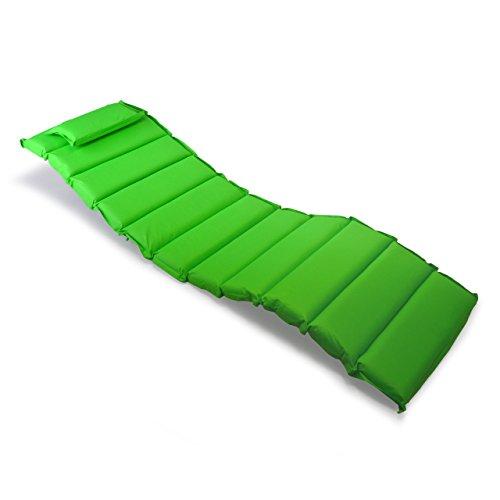 Nexos Divero Liegenauflage – Auflage gesteppt Polster für Sonnenliege Gartenliege Holzliege Saunaliege mit Kopfkissen – bequem hochwertig robust – hellgrün