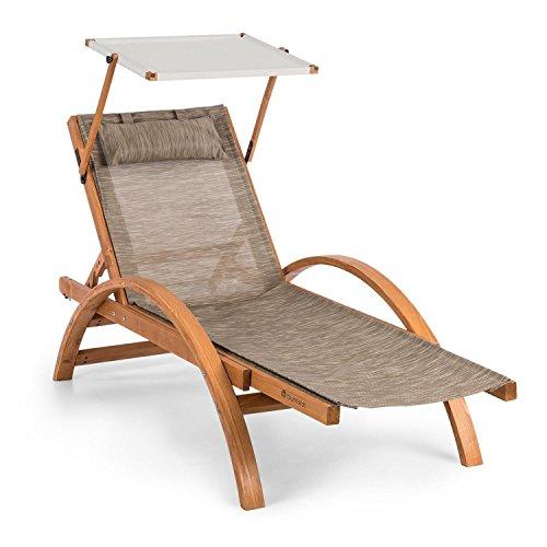 blumfeldt Panamera • Gartenliege • Liegestuhl • Sonnenliege • Sonnendach • ergonomisch • ComfortMesh • finnisches Kiefernholz • max 150kg • für drinnen und draußen • inkl Kopfkissen • Creme