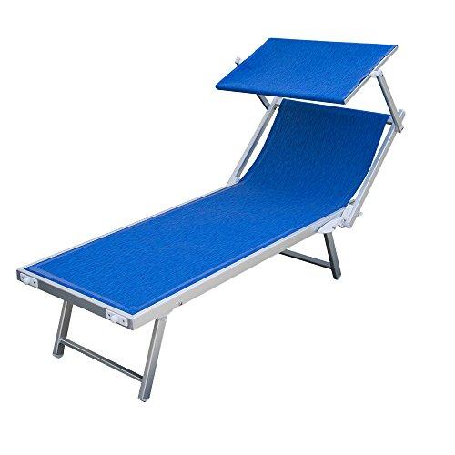 BC807806 Strandliege  Pool-Liege  Relaxliege Aluminium Textilene Blau