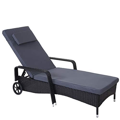 Mendler Poly-Rattan Sonnenliege Carrara Relaxliege Gartenliege Liege Alu ~ anthrazit Kissen grau