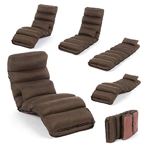 Smoothy Relaxliege klappbare Lounge Liege - 3-in-1 Sessel Liege Gästebett flexibel einstellbar Braun