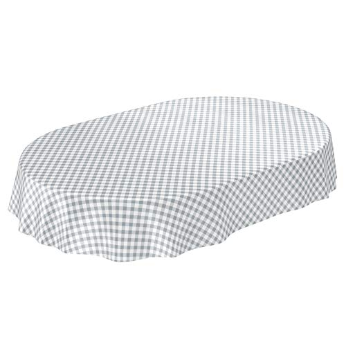 ANRO Wachstuchtischdecke Wachstuch Wachstischdecke Tischdecke Wachstuchdecke Karo Kariert Grau Oval 180 x 140cm 140 x 180cm