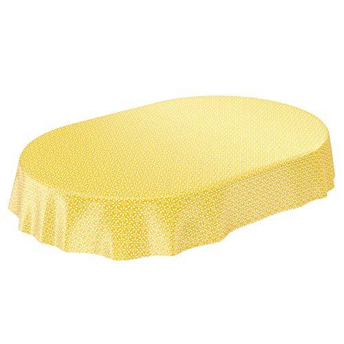 ANRO Wachstuchtischdecke Wachstuch Wachstischdecke Tischdecke abwaschbar Gelb Retro Uni Trend Oval 240 x 140cm 140 x 240cm