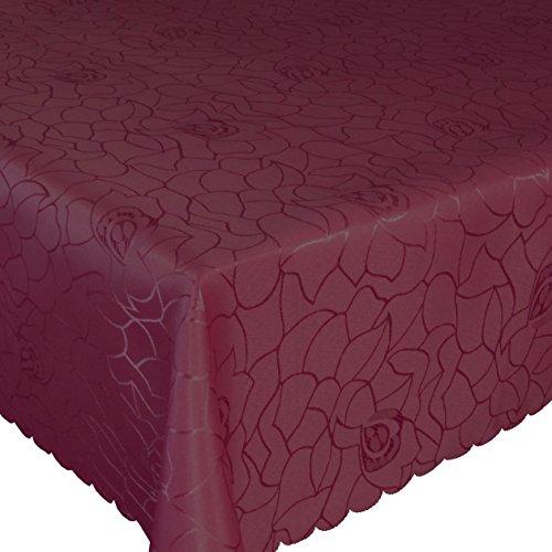 Silver Damast Tischdecke 160x220 cm Tischtuch Tischwäsche Tafeltuch Jacquard Oval Bordeaux