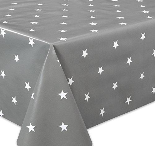 Wachstuchtischdecke OVAL RUND ECKIG Motiv u Größe wählbar Tischdecke abwischbar Oval 130x180 cm Sterne Grau Weiß