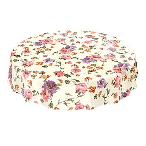 ANRO Tischdecke Wachstischdecke Wachstuch Wachstuchtischdecke Blumenmotiv Blumenmuster Lichtgrau Rund 140cm