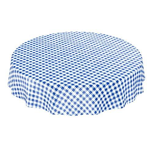 ANRO Tischdecke Wachstischdecke Wachstuch Wachstuchtischdecke Karo Klassik Meterware Blau Rund 140cm
