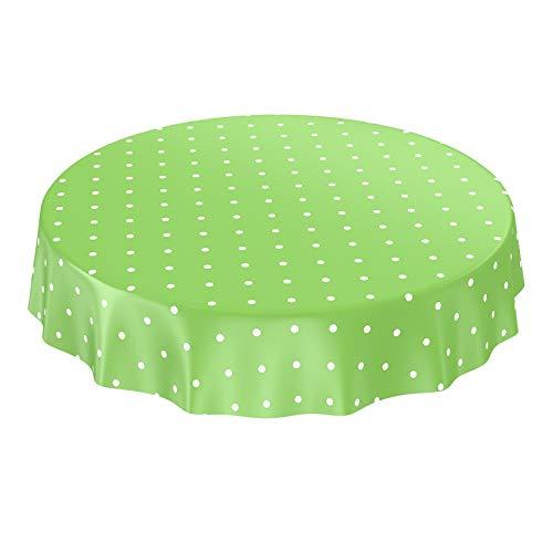 ANRO Wachstuchtischdecke Wachstuch Wachstischdecke Tischdecke Punkte Gepunktet Dots Tupfen Grün Rund 140cm