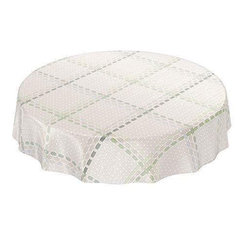 ANRO Wachstuchtischdecke Wachstuch Wachstischdecke Tischdecke abwaschbar Grün Textiloptik Textillook Karo Rund 140cm