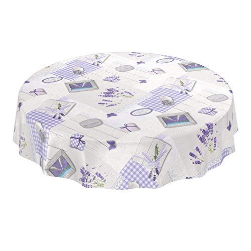 ANRO Wachstuchtischdecke Wachstuch Wachstischdecke Tischdecke abwaschbar Lavendel Provance Landhaus Rund 140cm