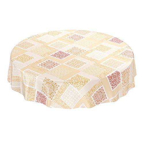 ANRO Wachstuchtischdecke Wachstuch Wachstischdecke Tischdecke abwaschbar Patchwork Shabby Orange Beige Rund 140cm