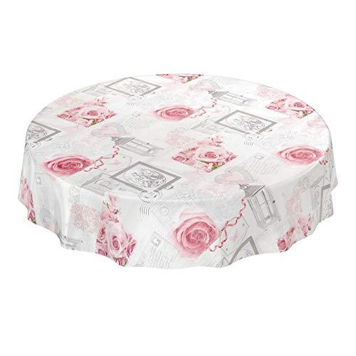 ANRO Wachstuchtischdecke Wachstuch Wachstischdecke Tischdecke abwaschbar Rosen Landhaus Antik Grau Rund 140cm Schnittkante