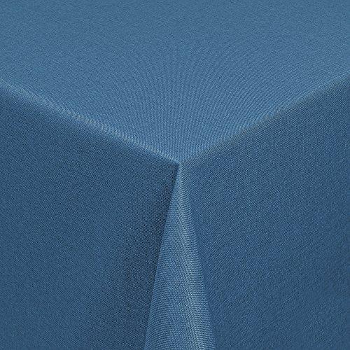 LEINEN-Design Tischdecke in Leinen-Optik - Outdoor- bzw Gartentischdecke - Ideal für Garten oder Terrasse Eckig 130x220 cm blau