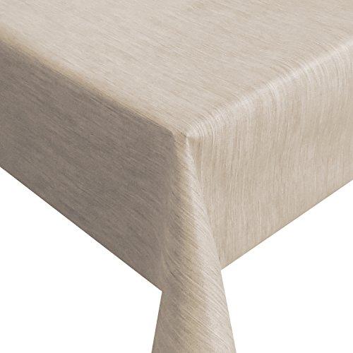 Wachstuch Robuste Leinen Prägung Pro Beige Sand Breite Länge wählbar - Größe ECKIG 140 x 240 bzw 240x140 cm abwaschbare Tischdecke Gartentischdecke