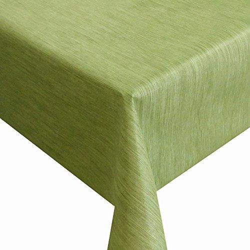 Wachstuch Robuste Leinen Prägung Pro RUND OVAL ECKIG Breite Länge wählbar Grün Eckig 120 x 180 cm abwaschbare Tischdecke Gartentischdecke