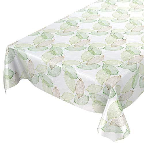 ANRO Wachstuchtischdecke Wachstuch Wachstischdecke Tischdecke abwaschbar Abstrakt Stimmung Laub Grün 120 x 140cm