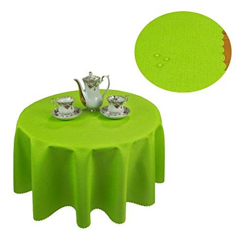 KMP Tischdecke abwaschbar Tischläufer Gartentischdecke Leinen Optik Rechteckig Rund 160 cm Rund Grün
