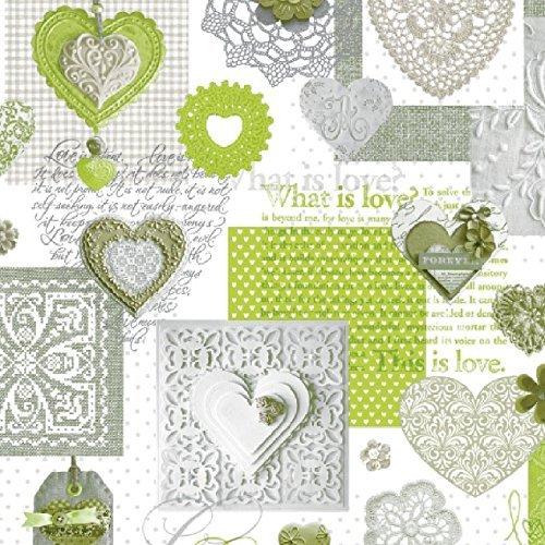 Wachstuch Tischdecke Meterware Love Herzen grün C146063 Größe wählbar in eckig rund oval 120 x 140 cm eckig