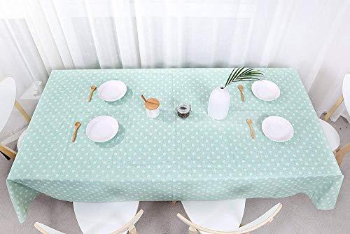 fancy-fix Wachstuchtischdecke abwaschbare Tischdecke aus Vinyl Wachstuch  Pflegeleicht  Grün mit weißen Punkte - Design  rechteckig 137 x 200 cm