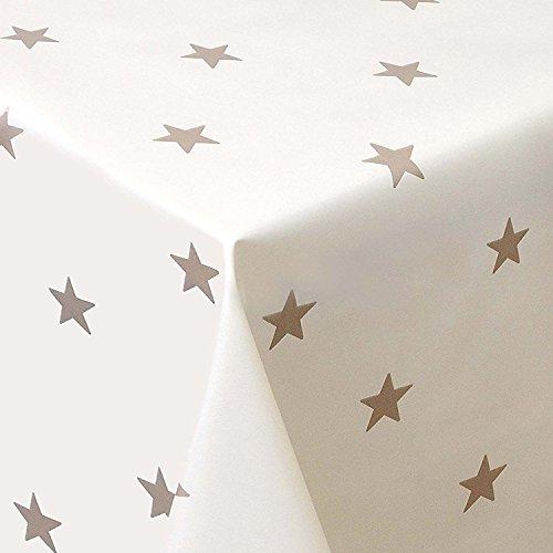 Wachstuch Sterne Creme Weiss Glatt Weihnachten · Eckig 140x180 cm · Länge wählbar· abwaschbare Tischdecke