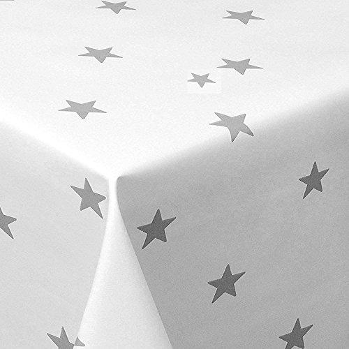 Wachstuch Sterne Weiss Glatt Weihnachten · Eckig 120x160 cm · Länge wählbar· abwaschbare Tischdecke