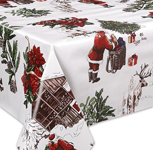 Wachstuch Tischdecke abwaschbar Meterware Glatt Weihnachten Bescherung Weiß Größe wählbar 140 x 200 cm