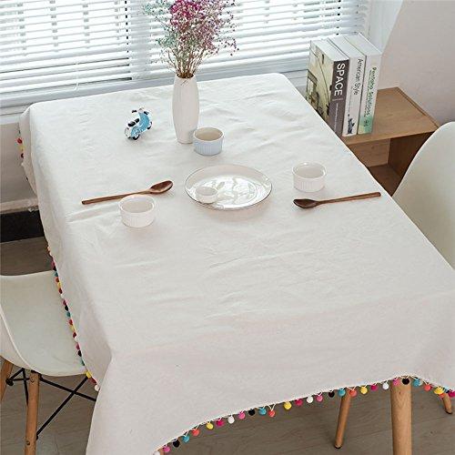 Pingenaneer Leinen Tischdecke Weiß mit bunter Quaste Schmutzabweisend Waschbar Tischtuch für Küche Esszimmer Garten Balkon oder Camping - 100140cm