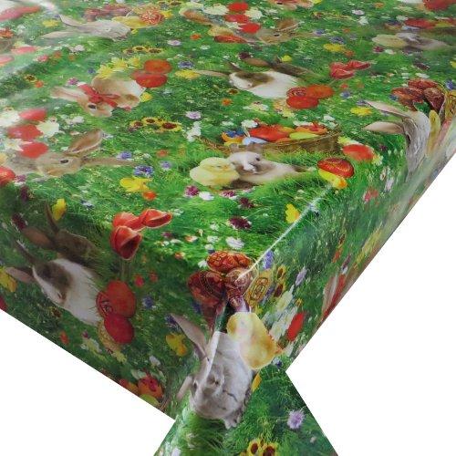 Wachstuch Breite 140 cm Länge wählbar - Ostern Grün Bunt Glatt Lebensmittelecht - 140 x 150 bzw 150x140 cm abwaschbare Tischdecke Gartentischdecke