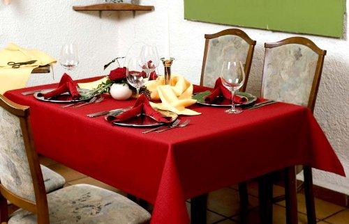 Exclusive Tischdecke oval mit Bleiband im Saum aus deutscher Produktion mit LOTUSEFFEKT pflegeleicht Rustika Farbe bordeaux Maß 160x200 cm GRATIS Lieferung innerhalb Deutschlands