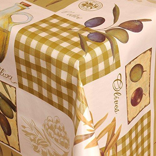 Wachstuch Tischdecke Gartentischdecke mit Fleecerücken Gartentischdecke Pflegeleicht Schmutzabweisend Abwaschbar Oliven Grün 110x 140 cm - Größe wählbar
