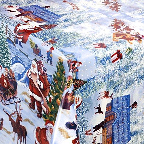 Wachstuch Tischdecke Gartentischdecke mit Fleecerücken Gartentischdecke Pflegeleicht Schmutzabweisend Abwaschbar Weihnachten Weiss Motive 170x 140 cm - Größe wählbar