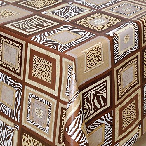 Wachstuch Tischdecke Gartentischdecke mit Fleecerücken Pflegeleicht Schmutzabweisend Abwaschbar Outdoor Afrika natur braun 50x140 cm - Größe individuell wählbar
