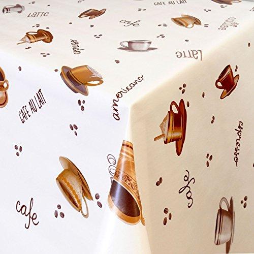 Wachstuch Tischdecke Gartentischdecke mit Fleecerücken Pflegeleicht Schmutzabweisend Abwaschbar Outdoor Kaffee Sorten Weiss 01392-01 100x140 cm - Größe individuell wählbar