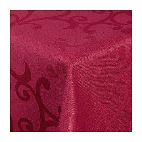 TEXMAXX Damast Tischdecke Maßanfertigung im Milano-Design in wein-rot 140x300 cm eckigweitere Längen und Farben wählbar