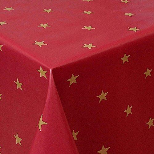 Wachstuch Sterne Rot Weiss Glatt Weihnachten · Eckig 140x140 cm · Länge wählbar· abwaschbare Tischdecke