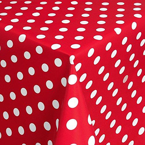 Wachstuch Tischdecke Gartentischdecke mit Fleecerücken Gartentischdecke Pflegeleicht Schmutzabweisend Abwaschbar Punkte Rot Weiss 180x 140 cm - Größe wählbar