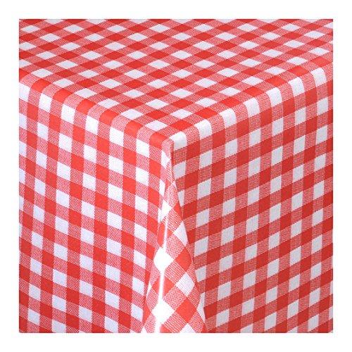 Wachstuch Tischdecke Wachstischdecke Gartentischdecke Abwaschbar Meterware Länge wählbarKlein Kariert Rot Weiß 112-02 200cm x 140cm