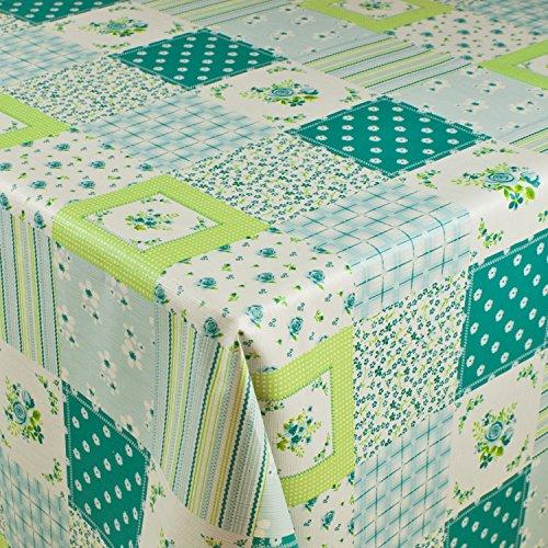 1buy3 Wachstuch  VIELE Farben Muster UND LÄNGEN  Tischdecke Biertischdecke mit Fleecerücken Blumenquadrate türkis 200cm x 140cm
