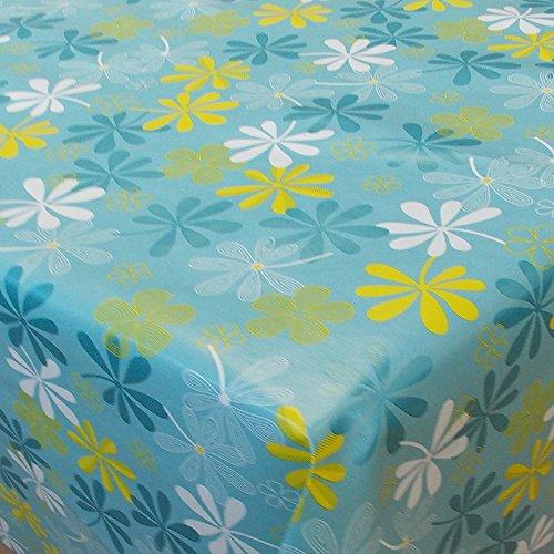 Wachstuch Blumen Florina Blau Türkis Eckig 110x150 cm · Länge wählbar· abwaschbare Tischdecke