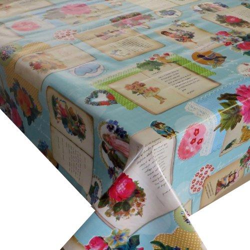 Wachstuch Breite Länge wählbar - dcfix Engel Türkis 3854595 - ECKIG 100 x 140 bzw 140x100 cm abwaschbare Tischdecke Wachstücher Gartentischdecke