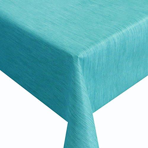Wachstuch Robuste Leinen Prägung Pro Türkis Breite 110 cm Länge wählbar - 110 x 180 bzw 180x110 cm abwaschbare Tischdecke Gartentischdecke