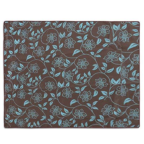 casa pura Gartentischdecke Bianca  braun mit verspieltem Blumenmuster in türkis  Weichschaum Tischdecke für Garten und Balkon  rechteckig 130 cm x 160 cm