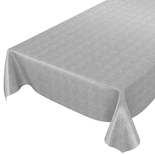 ANRO Wachstuchtischdecke Wachstuch Wachstischdecke Tischdecke abwaschbar Grau Leinenoptik Textiloptik 100 x 140cm