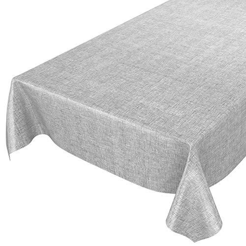 ANRO Wachstuchtischdecke Wachstuch Wachstischdecke Tischdecke abwaschbar Kariert Silber Grau 120 x 140cm